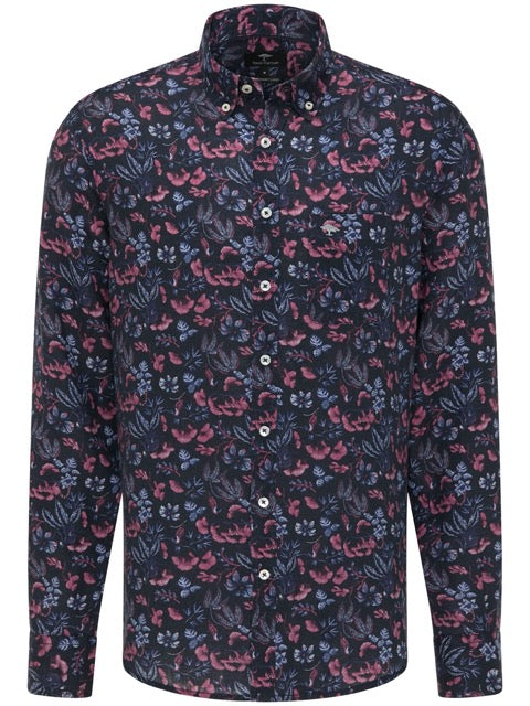FYNCH HATTON® Pure Linen Print Shirt/Thistle Flowers - New SS21