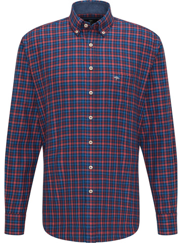 FYNCH HATTON® Flannel Combi Check Shirt/Red - New AW20