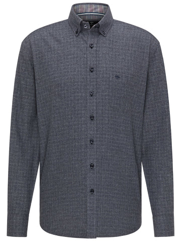 FYNCH HATTON® Suprersoft Combi Check Shirt/Solid Blue - New AW20