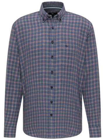 FYNCH HATTON® Suprersoft Combi Check Shirt/Blue - New AW20