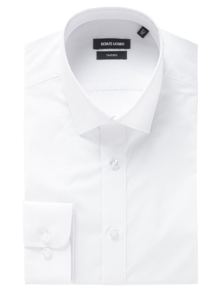 REMUS UOMO® Tapered Fit Plain Shirt/White - AW19 CORE