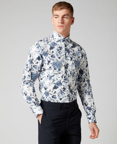 REMUS UOMO® Slim Fit Jack Floral Print Shirt/Blue - New SS20