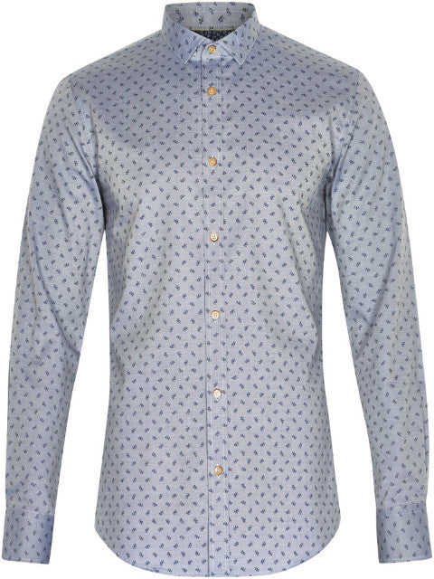 Matinique Allan Oxford Flower Print Shirt/Light Blue