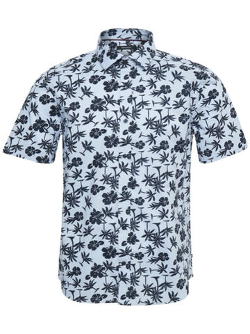 Matinique Trostol Summer Palm Print Shirt/Chambray Blue - New HS20
