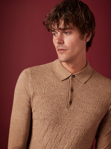 REMUS UOMO® Long Sleeve Merino Blend Polo Shirt/Light Brown - New AW19