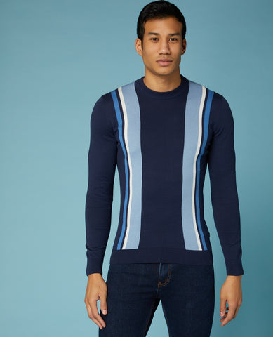 REMUS UOMO® Cotton Crew Striped Knitwear/Navy - New SS20