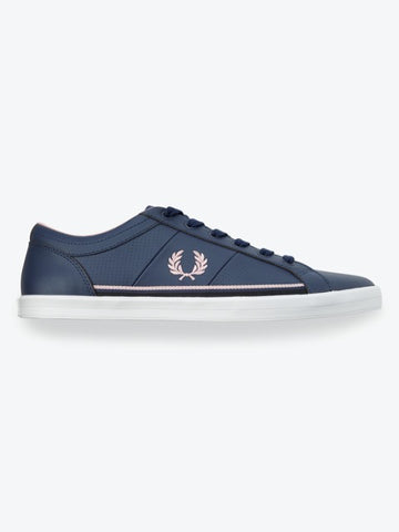 Fred Perry BASELINE Perforated Leather Trainers/Carbon Blue/Pink - New SS21