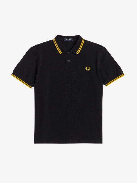 Fred Perry Twin Tipped Shirt/Black & Yellow - SS21 CORE