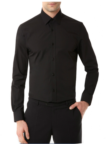 REMUS UOMO® Tapered Fit Plain Shirt/Black - SS20 CORE