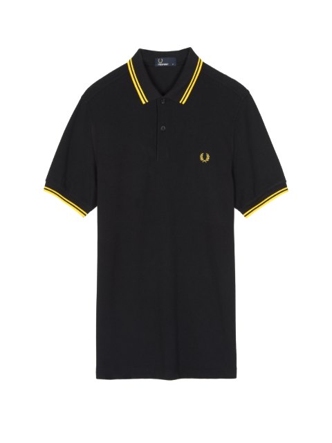 Fred Perry Twin Tipped Shirt/Black & Yellow - SS20 CORE