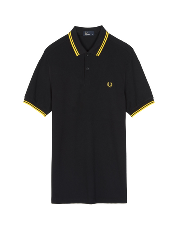 Fred Perry Twin Tipped Shirt/Black & Yellow - AW20 CORE