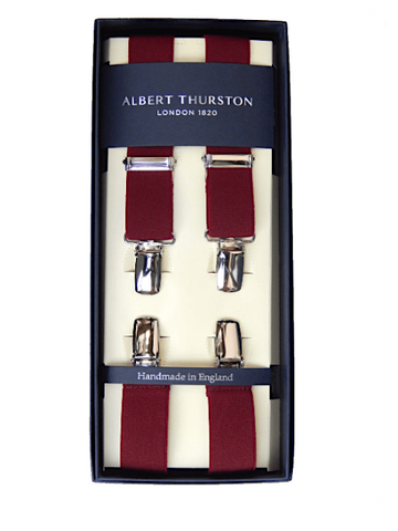 Albert Thurston 25mm Clip Braces/Wine