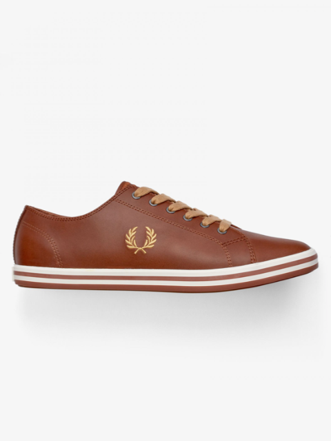 Fred Perry KINGSTON Leather Plimsolls/Tan - New AW20