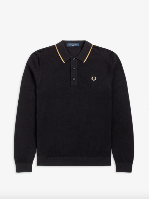 Fred Perry Textured Long Sleeve Knitted Shirt/Black - New AW20