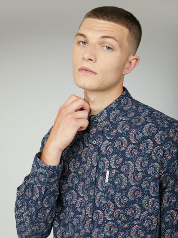 BEN SHERMAN® 60's Floral Print Shirt/Dark Navy - New AW20