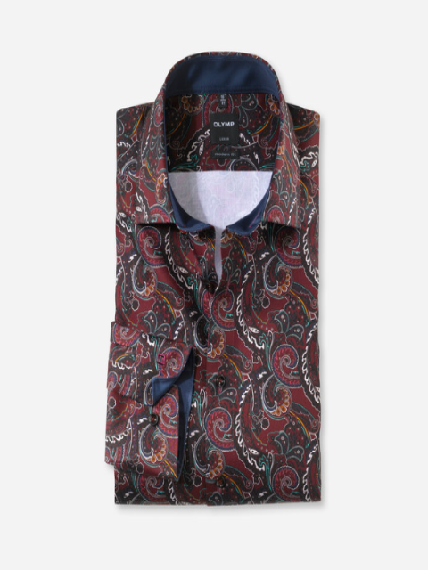 Olymp® Modern Fit Floral Shirt/Dark Red - New AW20