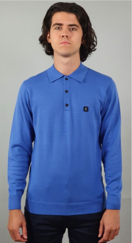 Gabicci Vintage Jackson Long Sleeve Polo Shirt/Carolina - New SS21