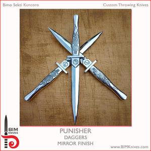 "Dagger - The PUNISHER - 27mm/10.5"" - Mirror Finish - Handmade Throwing Knives by BIMKnives"