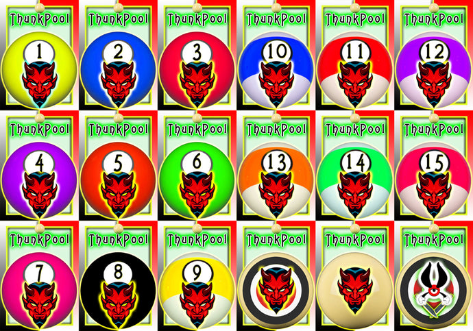ThunkPool Deluxe Pack - Devil's Balls - (2) 18 Card Game Sets - Score & Tally Set - 9 Record Keeper Cards