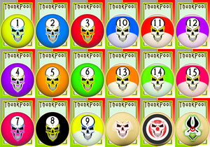 ThunkPool Deluxe Pack - Skull Balls - (2) 18 Card Game Sets - Score & Tally Set - 9 Record Keeper Cards