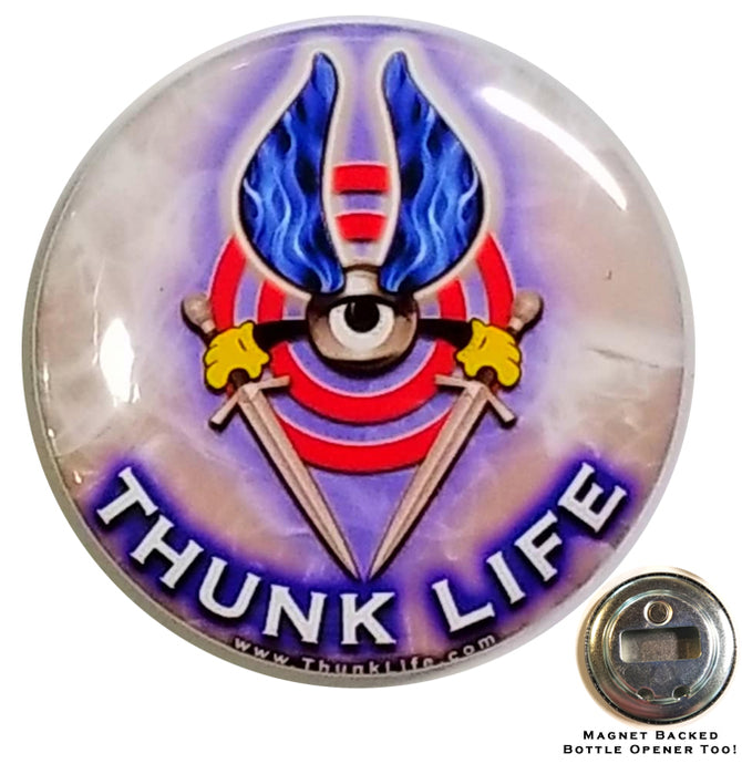 ThunkLife  ~ Magnet / Bottle Opener - Blue Flaming Bullseye!