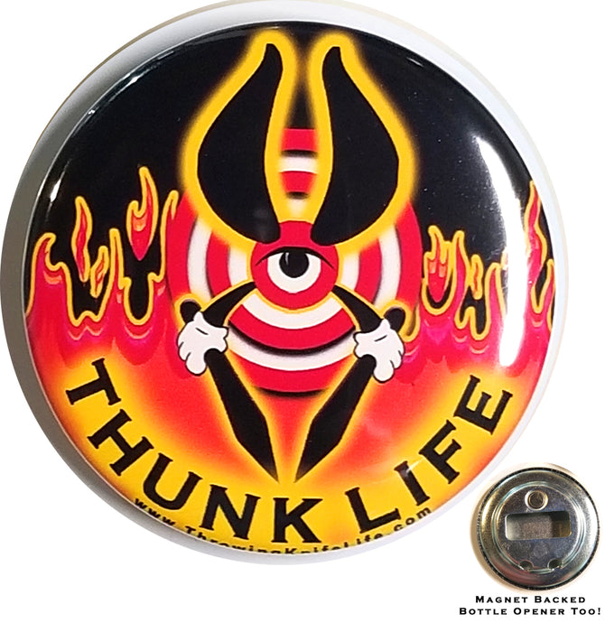 ThunkLife  ~ Magnet / Bottle Opener - BULLSEYE Fire & Sky / Black