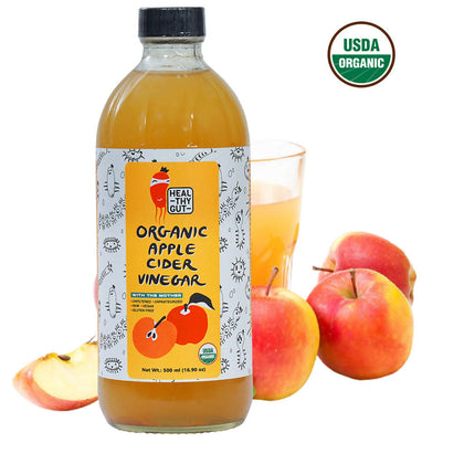Healthy Gut Raw Organic Apple Cider Vinegar with Mother (USDA, Unfiltered, Unpasteurized, Vegan, Gluten Free) - 500ml