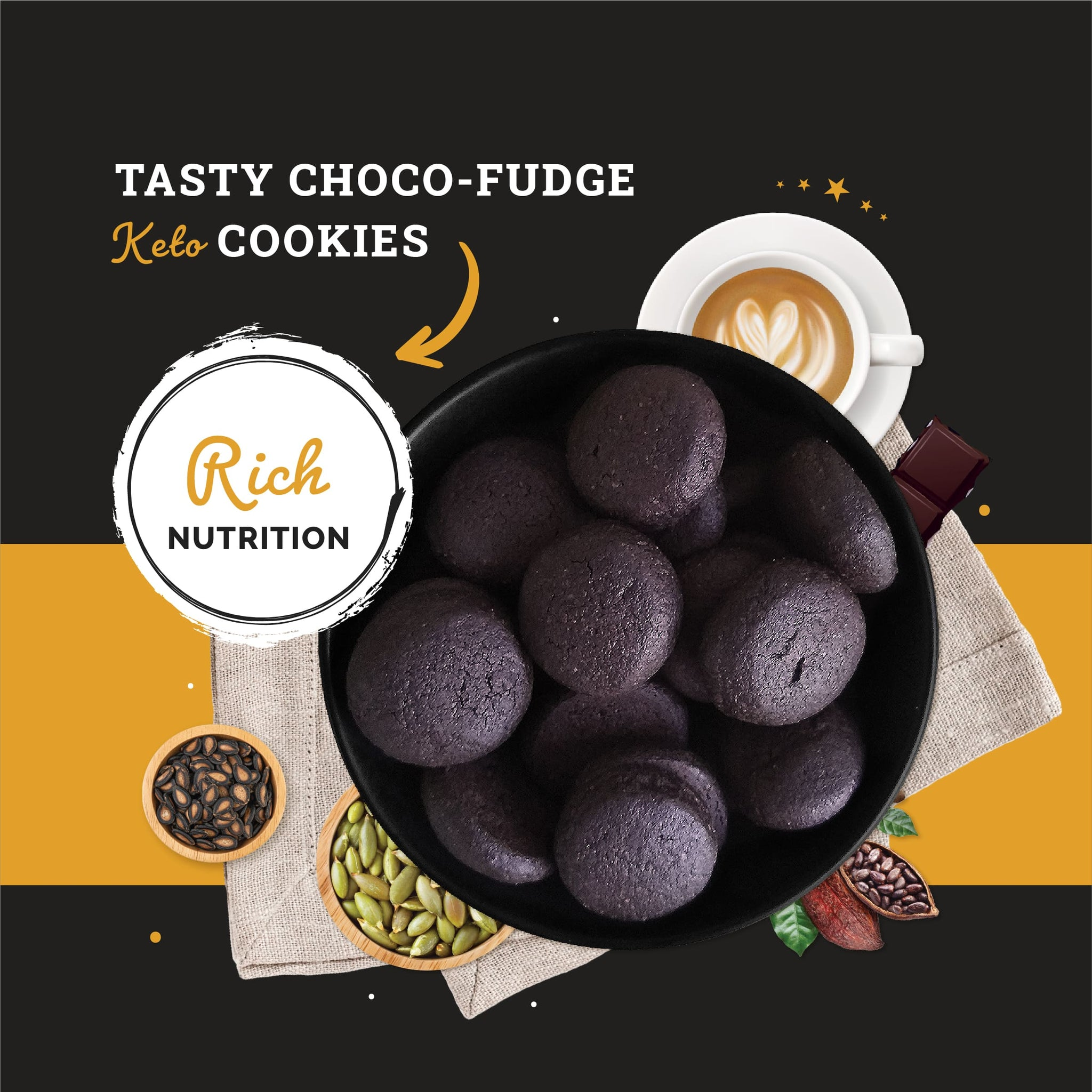 Ketofy Choco Fudge Keto Cookies | Sugar Free