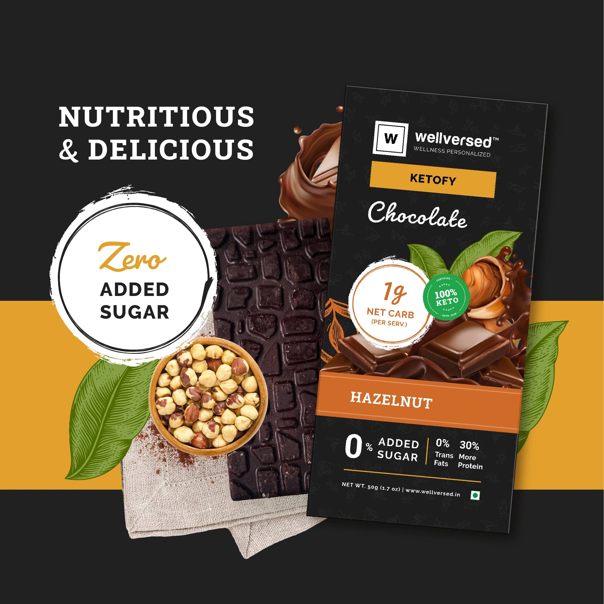 Ketofy Hazelnut Chocolate | Sugar Free