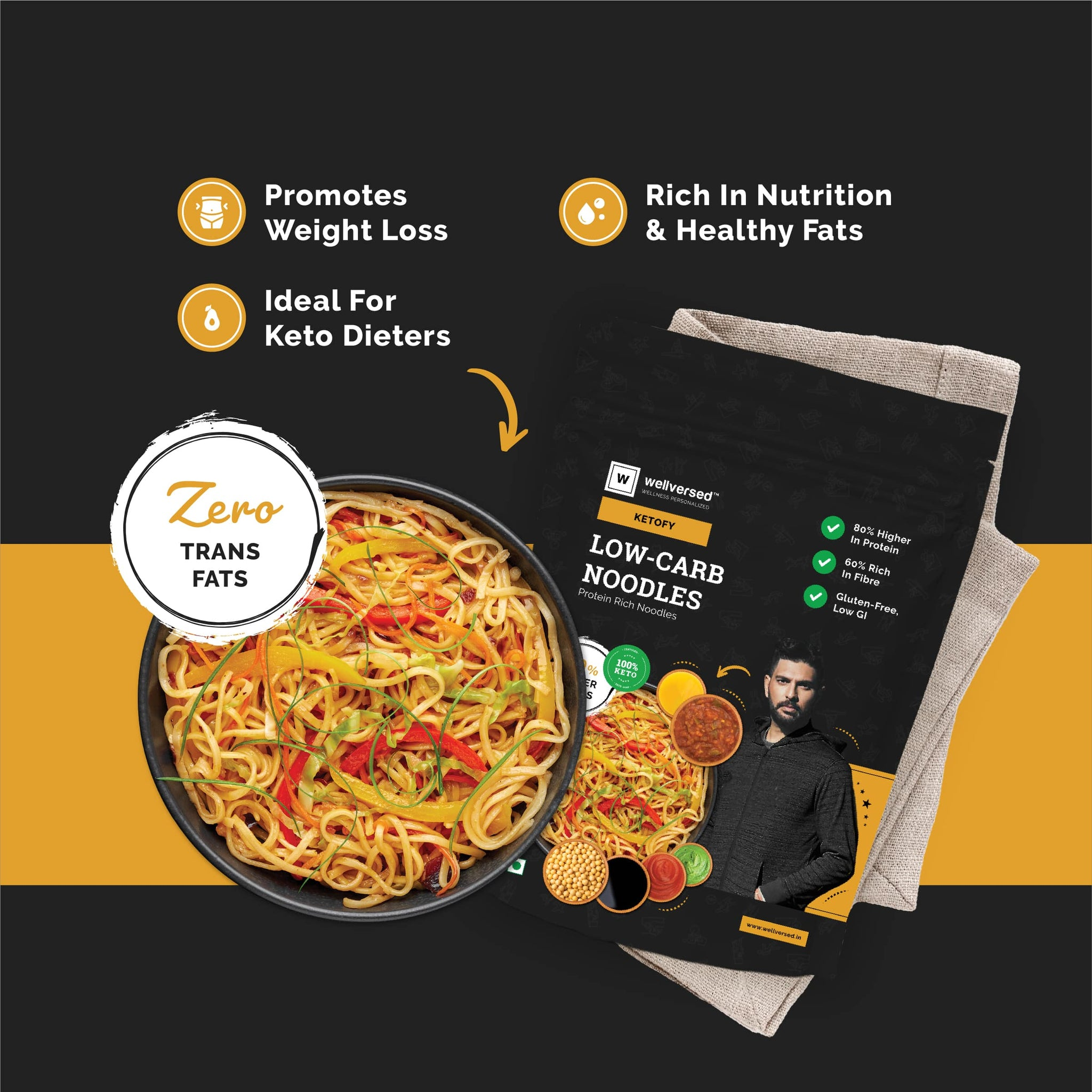 Ketofy Low-Carb Keto Friendly Noodles | Low Glycemic, Low-Carb | Protein-Rich