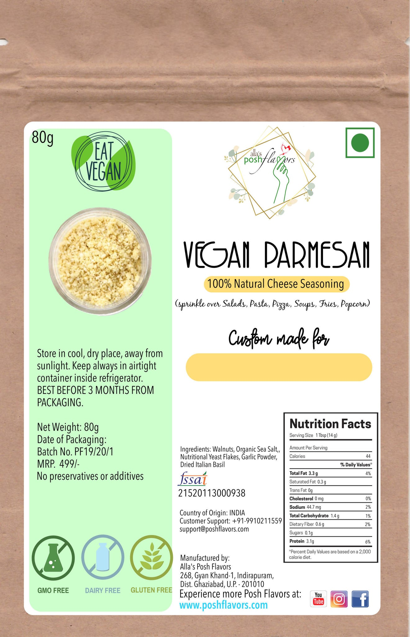 Vegan Parmesan Cheese Seasoning | MADE TO ORDER | Dairy Free, Lactose Free, Cruelty Free