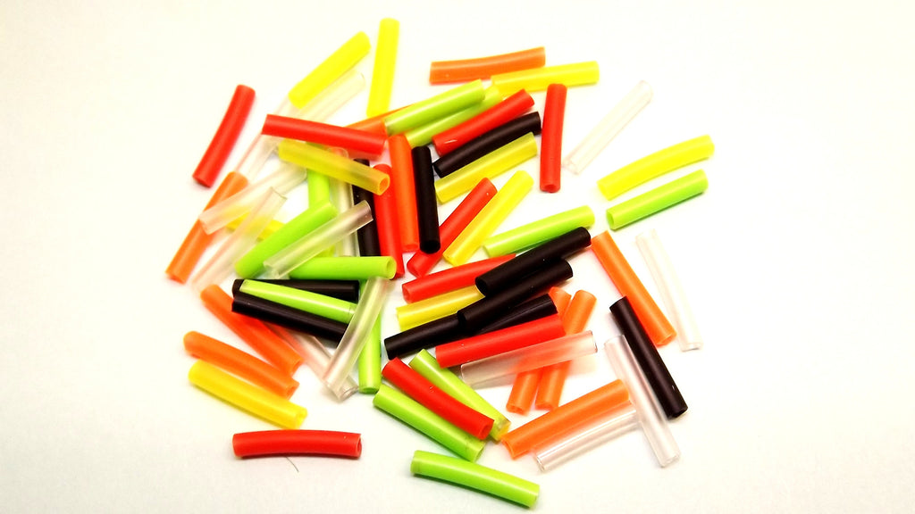 60 ASSORTED PIECES OF COLOURED SILICONE EXTENSION TUBING FROM FLYMAKERS FLYTYING