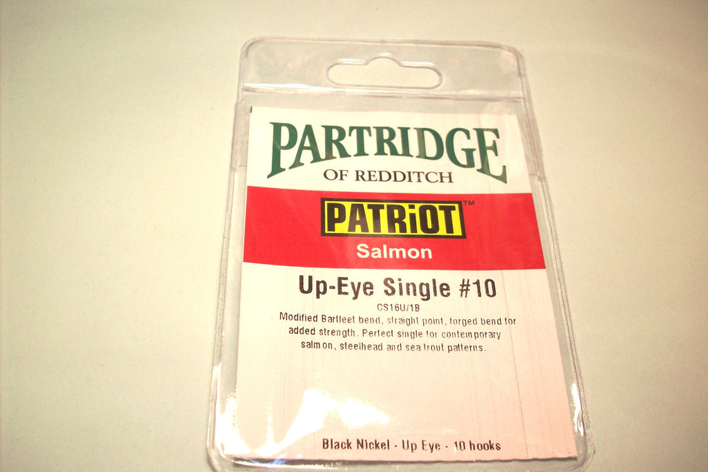 PARTRIDGE PATRIOT SINGLE SALMON HOOKS BLACK & GOLD REPLACES SALAR HOOKS