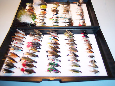 100 Assorted Single Dry Wet anf Nymph Fishing Flies Ideal GIFT FROM FLYMAKERS