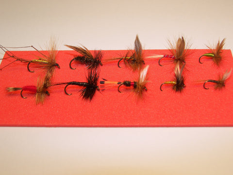 10 DRY SINGLE TROUT FLIES IN A BLISTER PACK WOULD MAKE A IDEAL GIFT FROM FLYMAKERS