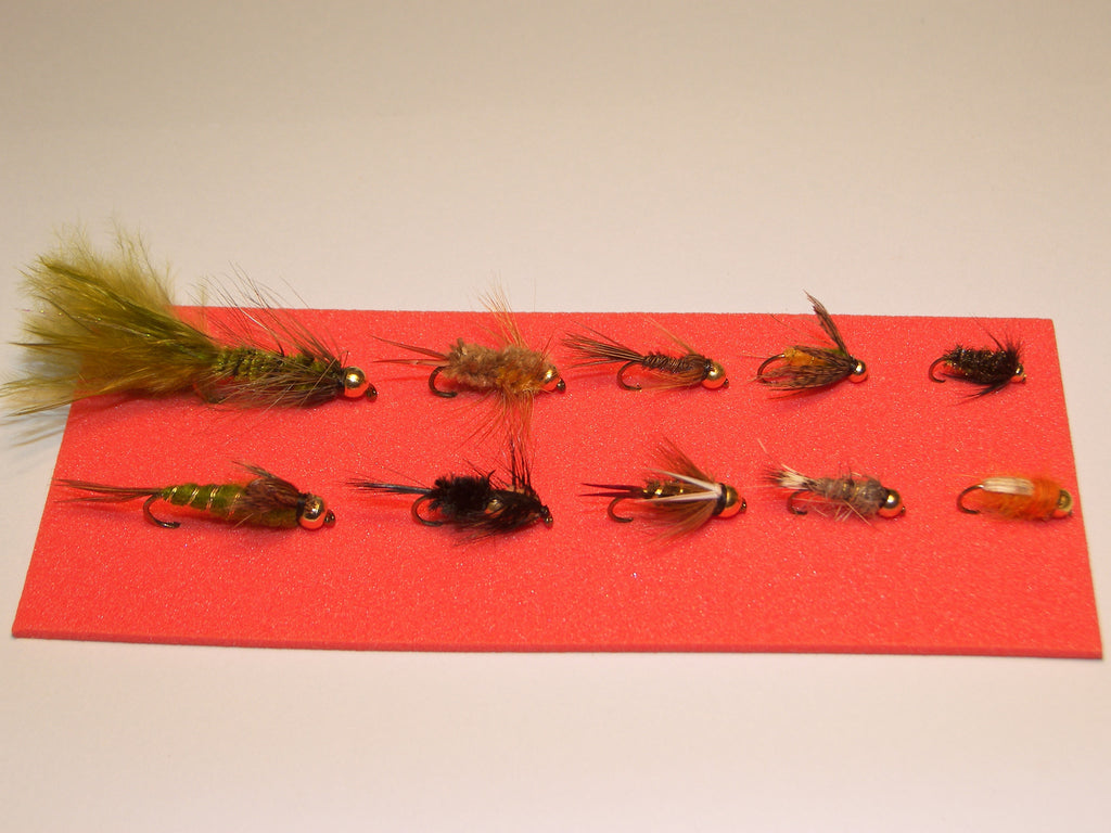 10 Gold Head NYMPH Single TROUT FLIES in a Blister Pack Ideal GIFT from FLYMAKERS