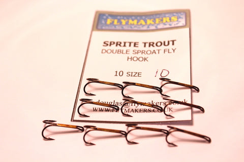 10 Original Sprite Trout Double Sproat Fly Fishing  Hooks Code SDS from Flymakers