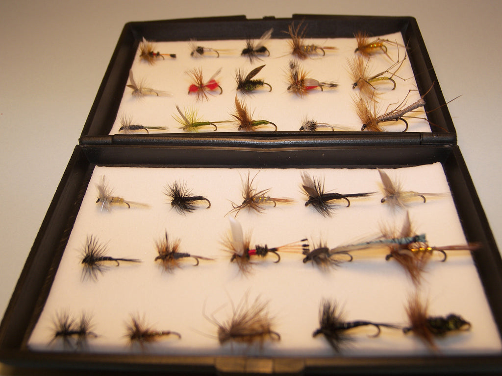 30 DRY Single Tout Flies in a free Plastic Fly Box ideal XMAS Gift from FLYMAKERS