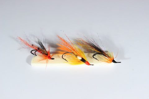 SET OF 3 DOUBLE LOW WATER HAIR WING SALMON FLIES, 1 ALLY'S , 1 CASCADE, 1 FIREFLY