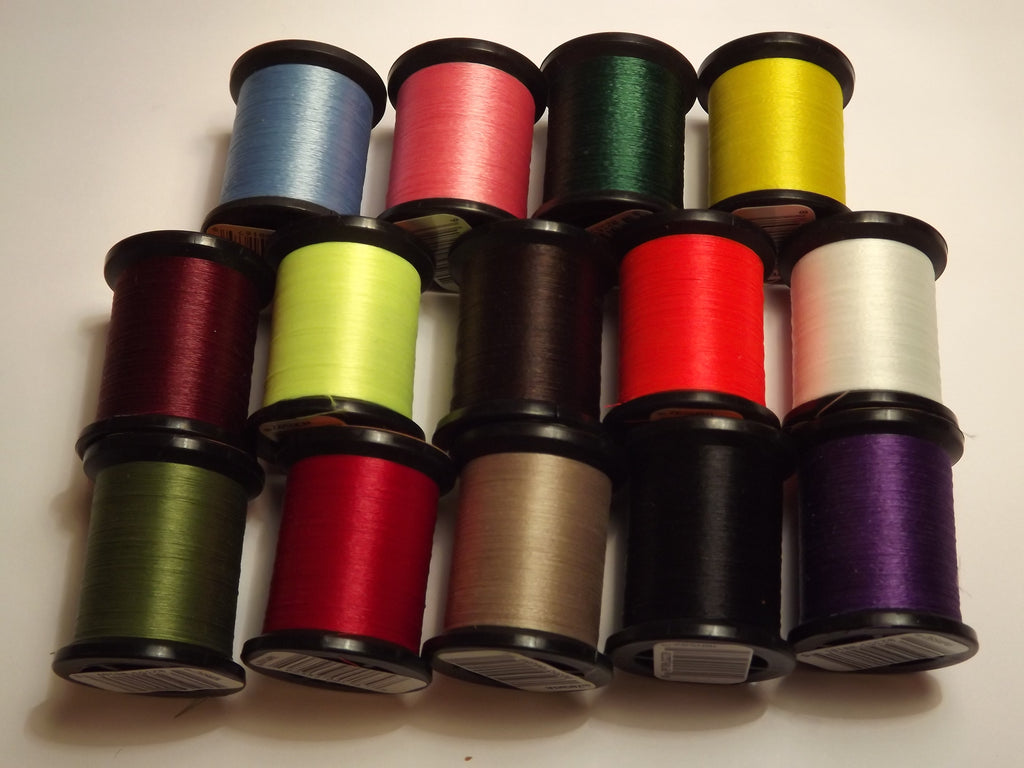 UNI THREAD SIZE 8/0 SUPER MIDGE PRE WAXED 50 YARD REELS IN ASSORTED COLOURS