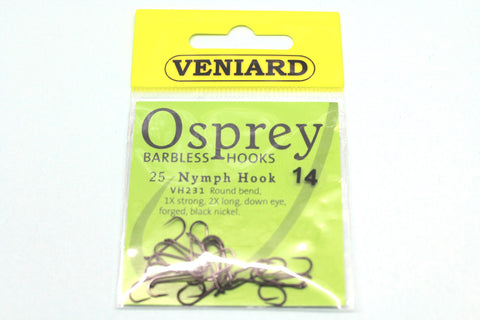 BARBLESS NYMPH FLY TROUT FLY HOOKS CODE VH231 FROM OSPREY 25 PER PACKET