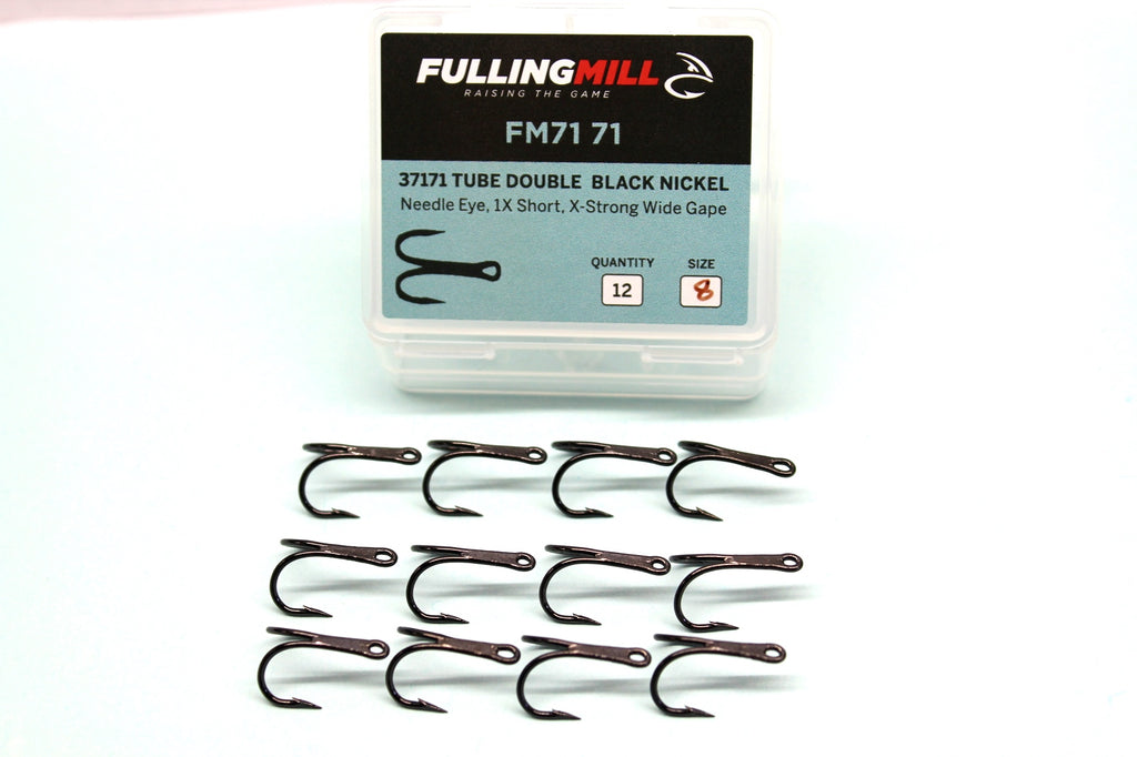 Fulling Mill Tube Double Hooks 12 per Pack Black Nickel Assorted Sizes Code 7171