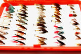 100 Assorted Single Dry Wet and Nymph Fishing Flies XMAS GIFT packed in a Orange box from Flymakers