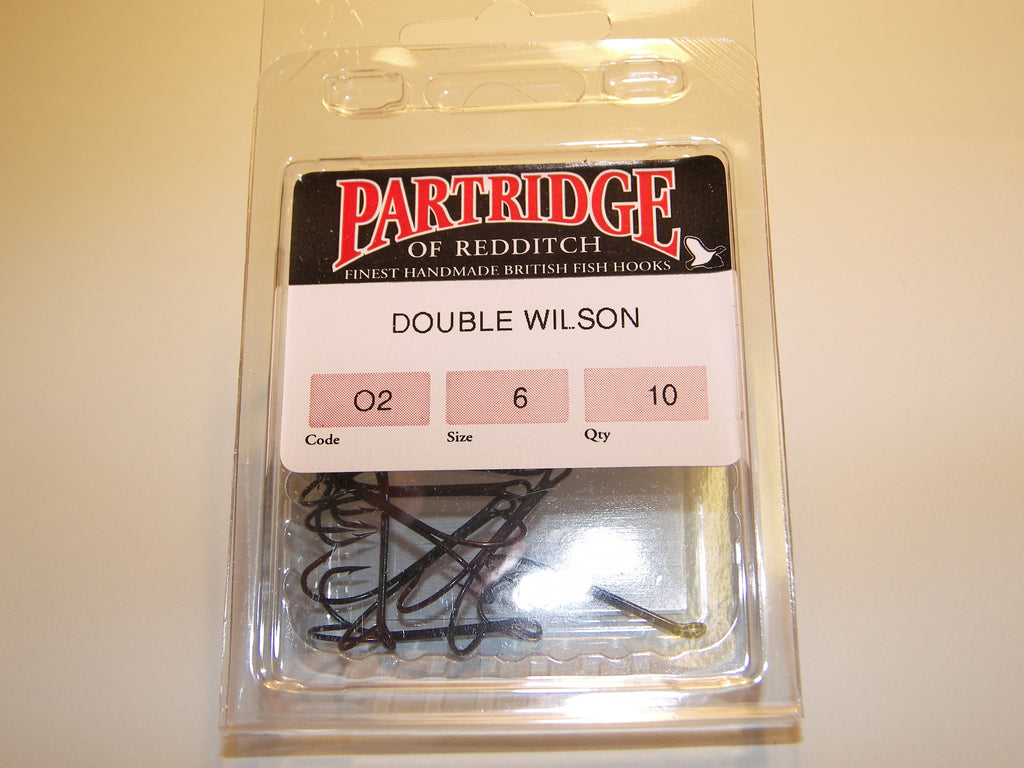 10 PARTRIDGE Light-Weight SALMON DOUBLE Fishing Hooks Code 02
