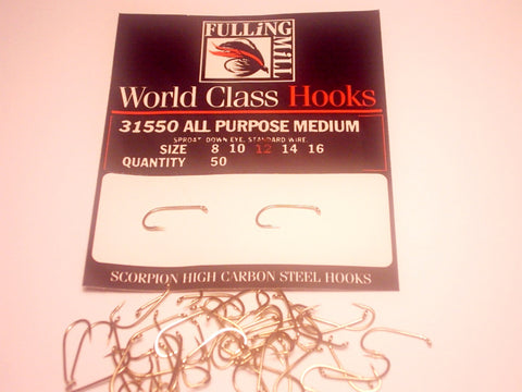 ALL PURPOSE MEDIUM TROUT HOOKS CODE 31550 FROM FULLINGMILL 50 PER PACKET