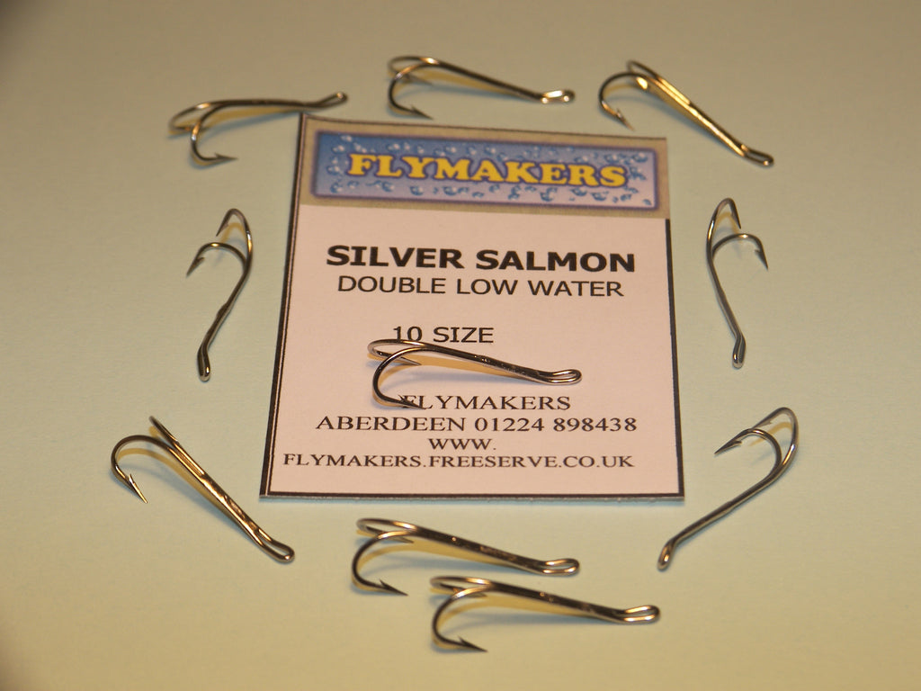 10 vmc low water salmon double fly fishing hooks silver for Fishing hook sizes for trout