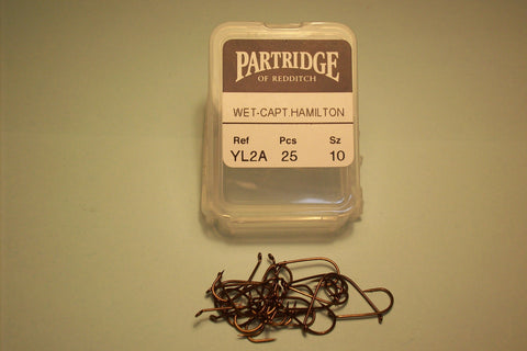 PARTRIDGE YL2A (TWH) STANDARD WET HOOK FORGED CAPT. HAMILTON BEND 25 PER PACKET