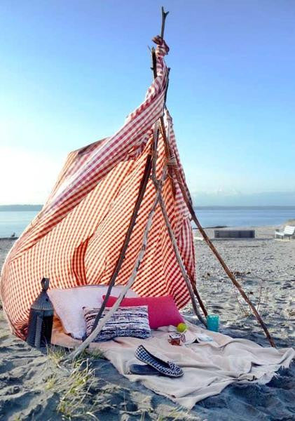 how to make a bohemian beach tent.