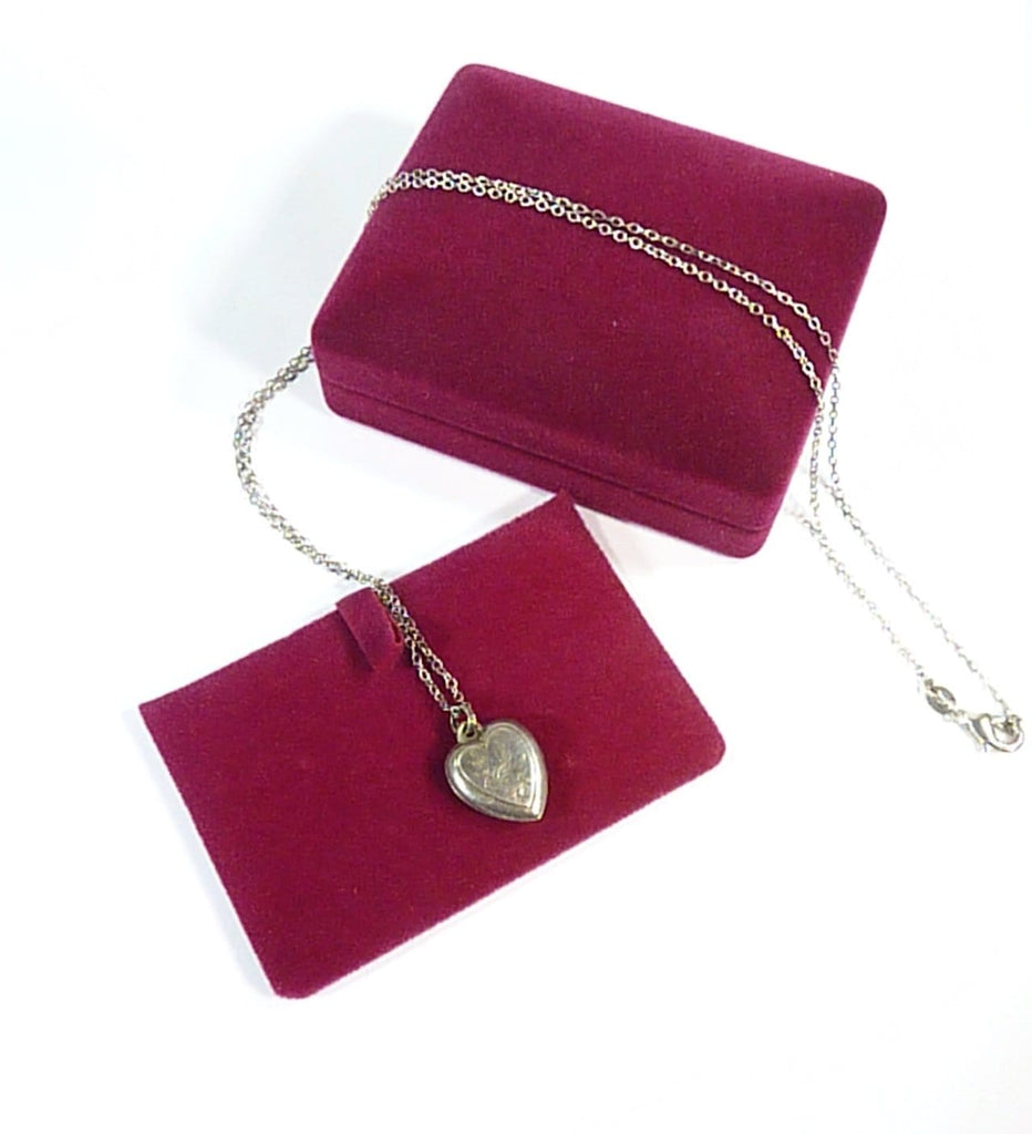 1800s Solid Silver Necklace And Heart Pendant