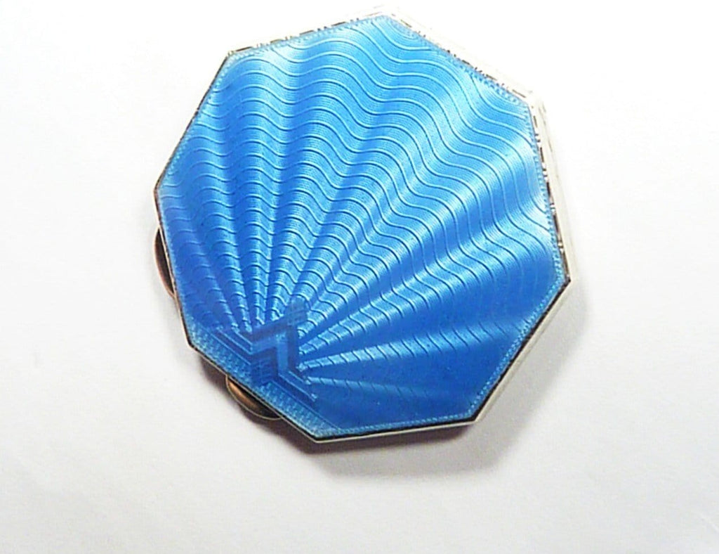 1920s Solid Silver Blue Enamel Purse Mirror